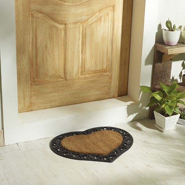 heart shaped coir door mat